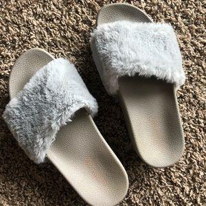 Shoes - Faux Fur Slides